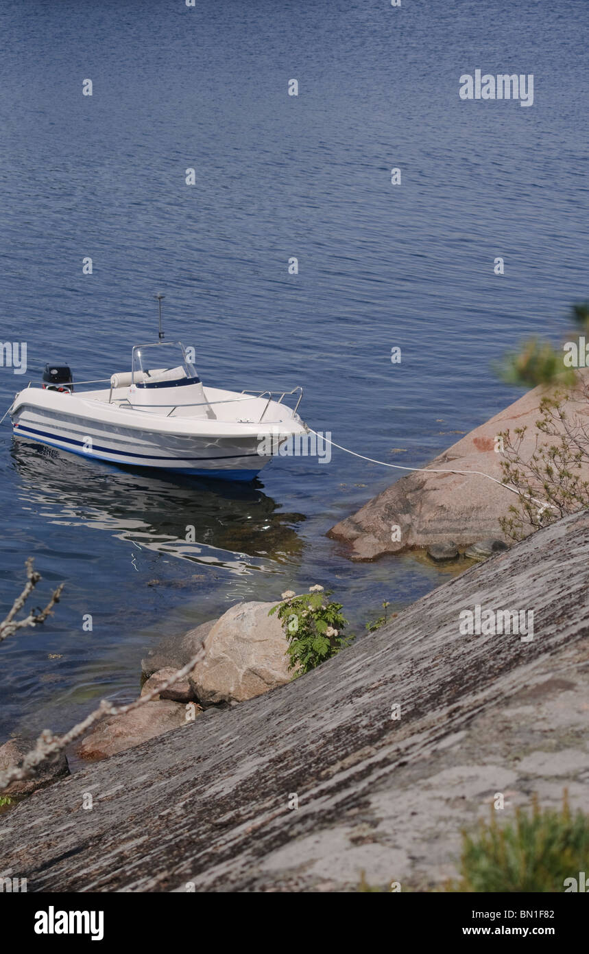 Boating in th Stockholm archipelago - Stock Image