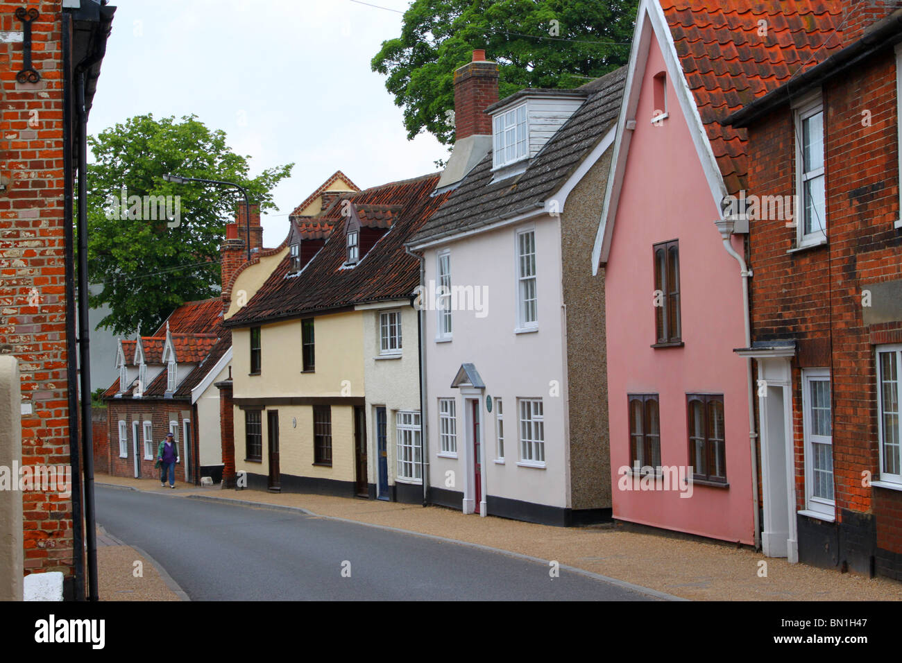 Row of old cottages typical of small  towns  and villages in England.  These picturesque homes are situated in Beccles, - Stock Image