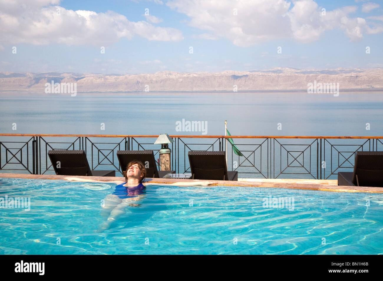 Middle East, Jordan, Dead Sea, 400 metres below sea level - Stock Image