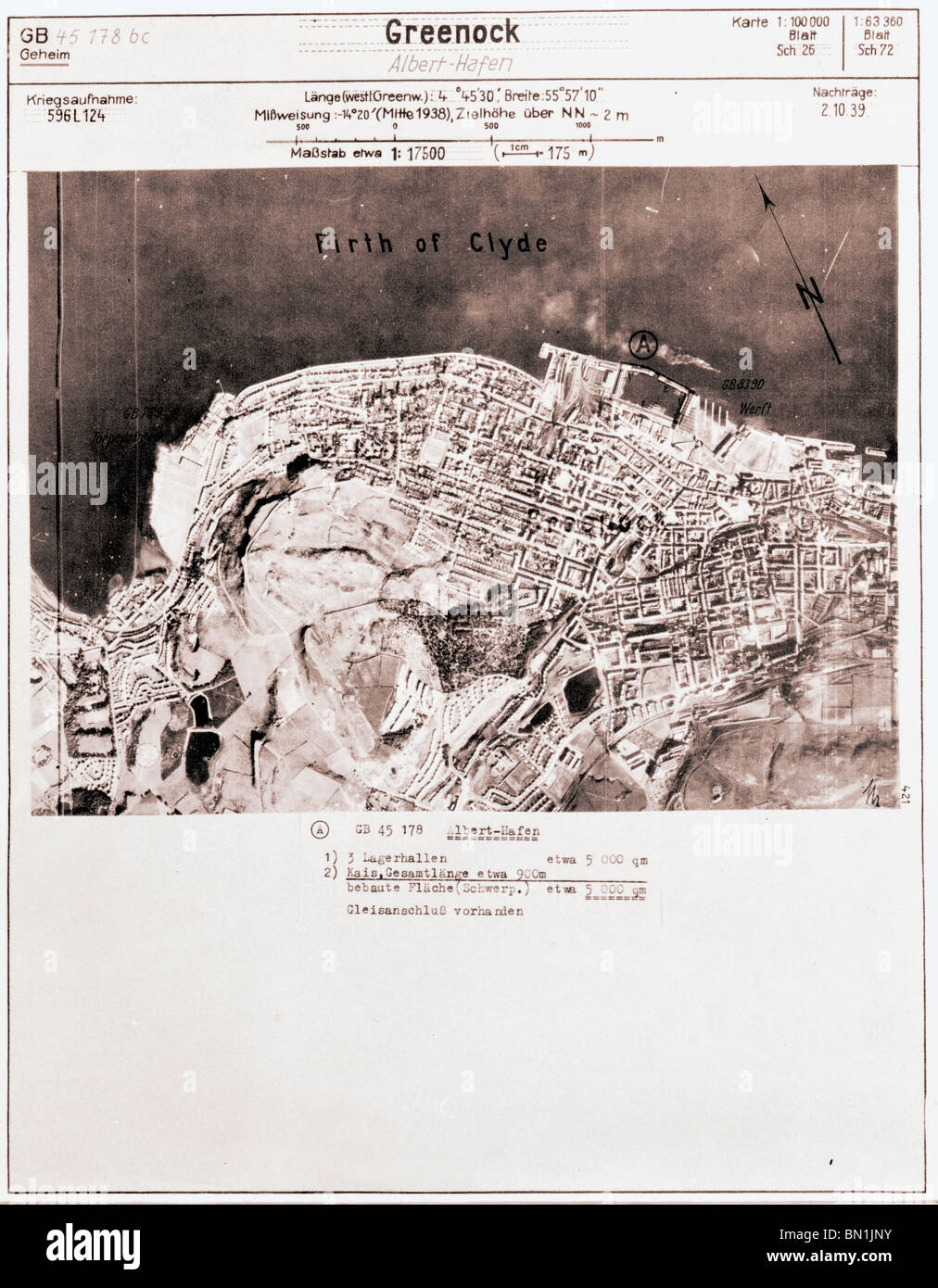 Forth of Clyde, Greenock, Glasgow - Scotland 1940 Shipyards Luftwaffe Aerial Image - Stock Image