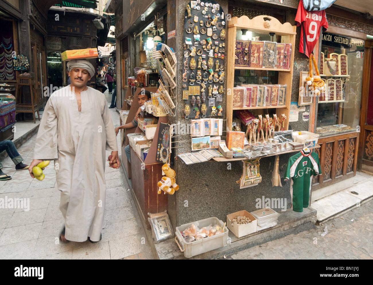 Stalls and stallkeepers in the Khan al khalili market, Islamic quarter, Cairo Egypt - Stock Image