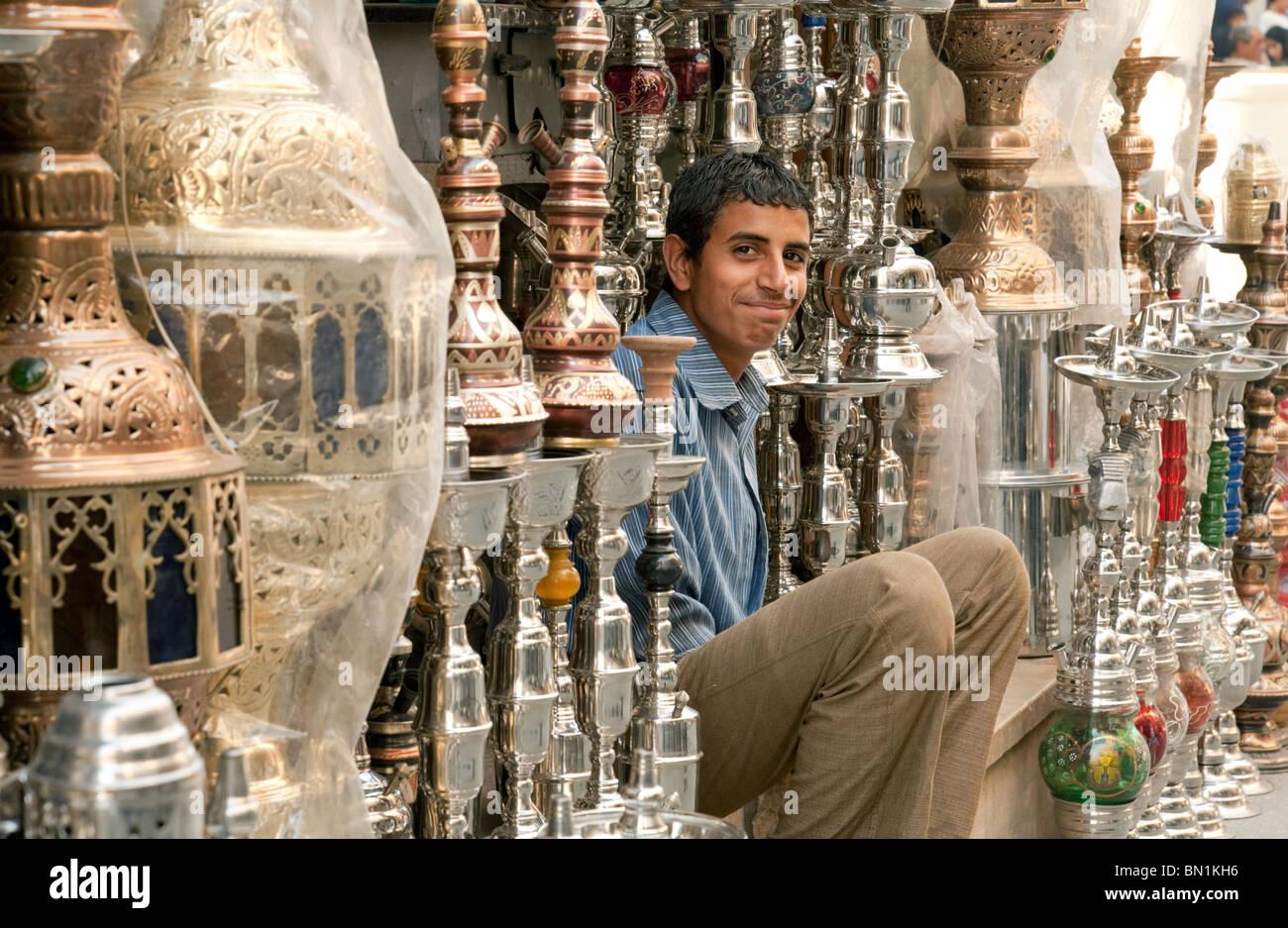 Shop and shopkeeper in the Khan al khalili market, Islamic quarter, Cairo Egypt - Stock Image
