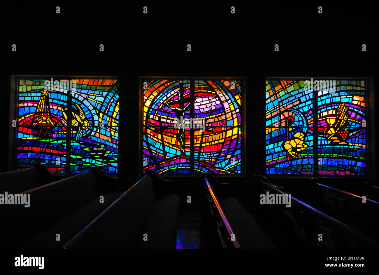Modern stained glass windows at Saint Augustine Beach Anastasia Baptist Church, Florida, United States of America - Stock Image
