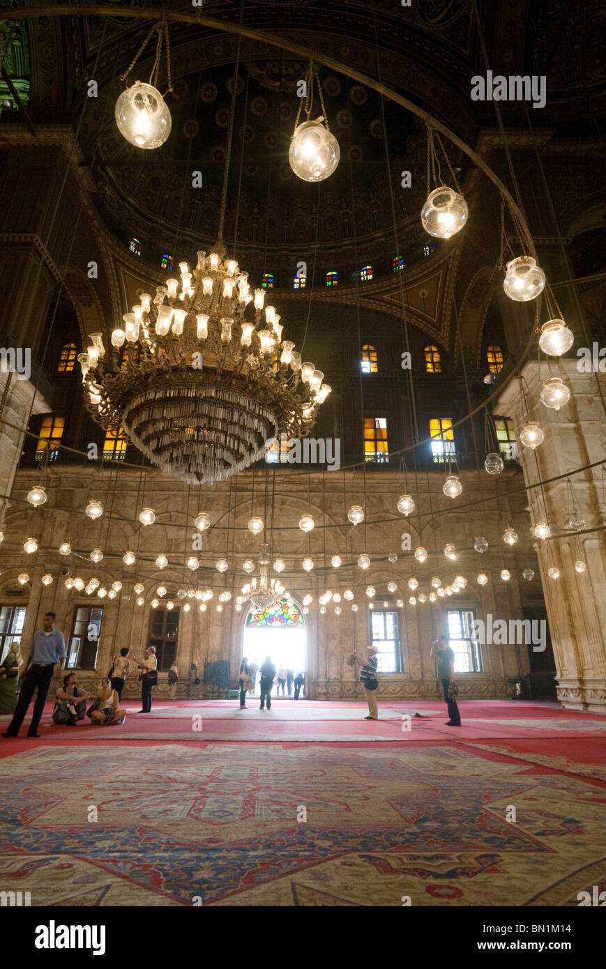 An atmospheric view inside the Mosque of Muhammad Ali Pasha, The Citadel, Cairo, Egypt - Stock Image