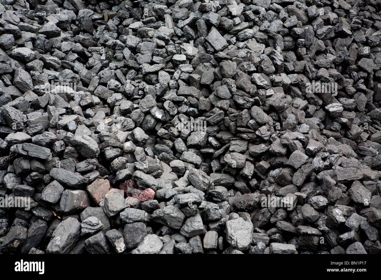 Coal pile at Haverthwaite Station on the Lakeside and Haverthwaite Railway in Cumbria Stock Photo