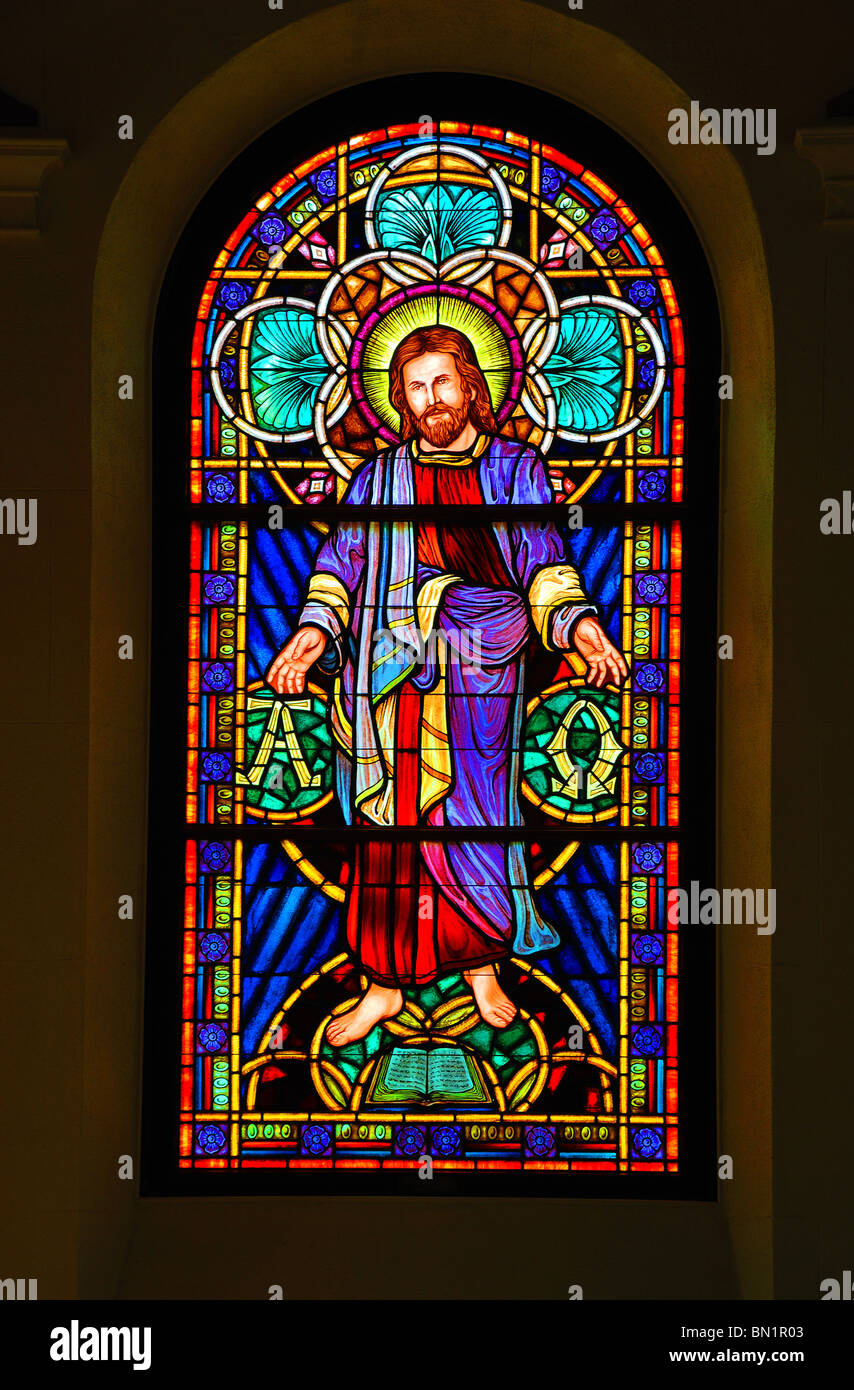 Traditional stained glass window at Wesley United Methodist Church at St Simon's Island, Georgia, United States Stock Photo