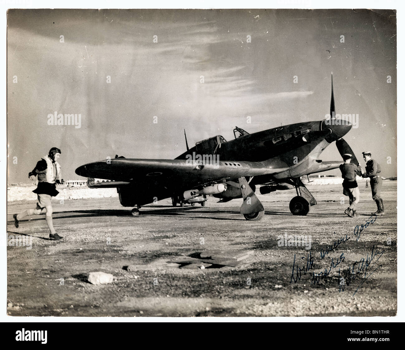RAF Spitfire Fighter Plane being Prepared to Fly 1940 - Stock Image
