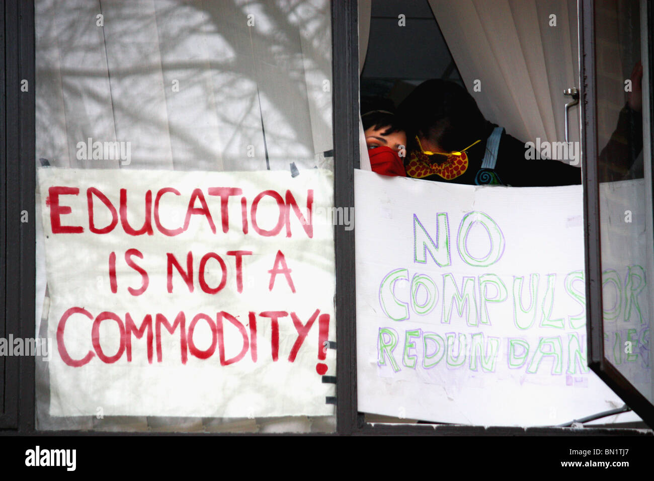 'Stop the Cuts'  student campaigners occupy  an administration building at U. of Sussex  to protest budget - Stock Image