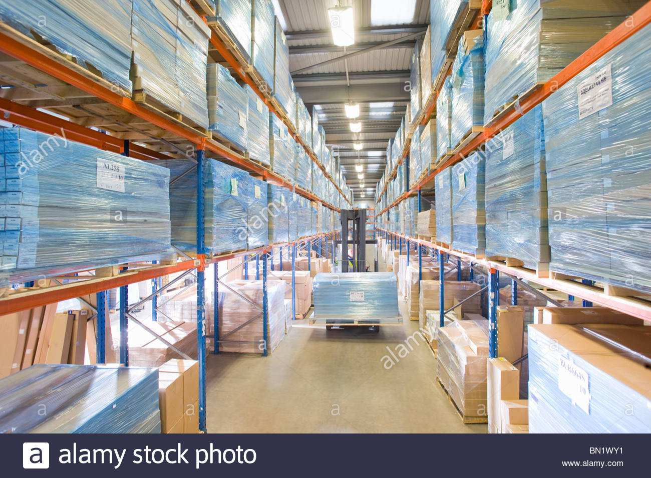 Warehouse worker moving pallet of boxes on forklift - Stock Image