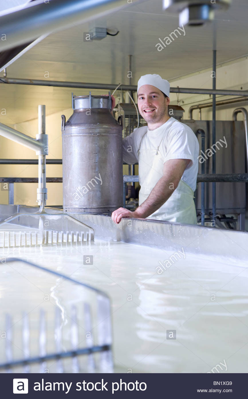 Portrait of smiling cheese maker mixing rennet with milk in vat to begin cheddar cheese making process - Stock Image