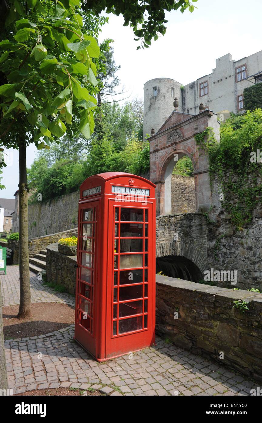 British red phone box in Bad Munstereifel Germany Deutschland Europe - Stock Image