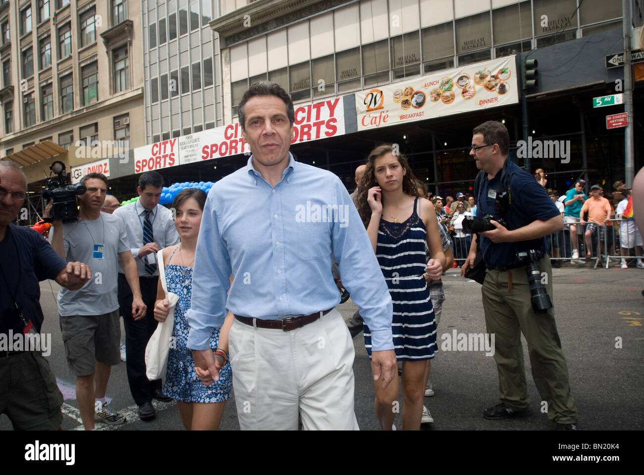 NYS Attorney General and gubernatorial candidate Andrew Cuomo arrives at the Gay Pride Parade in New York - Stock Image