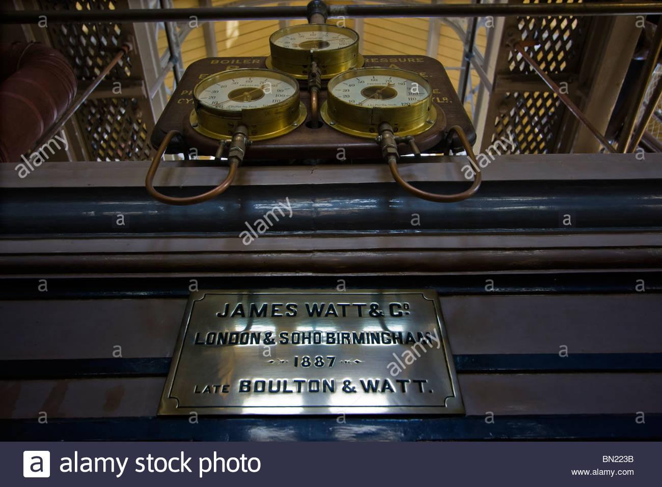 James Watt Scottish inventor and mechanical engineer Brass Plate Beam Engine - Stock Image