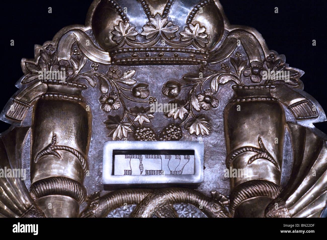 Jewish Silver Torah Shield - Stock Image