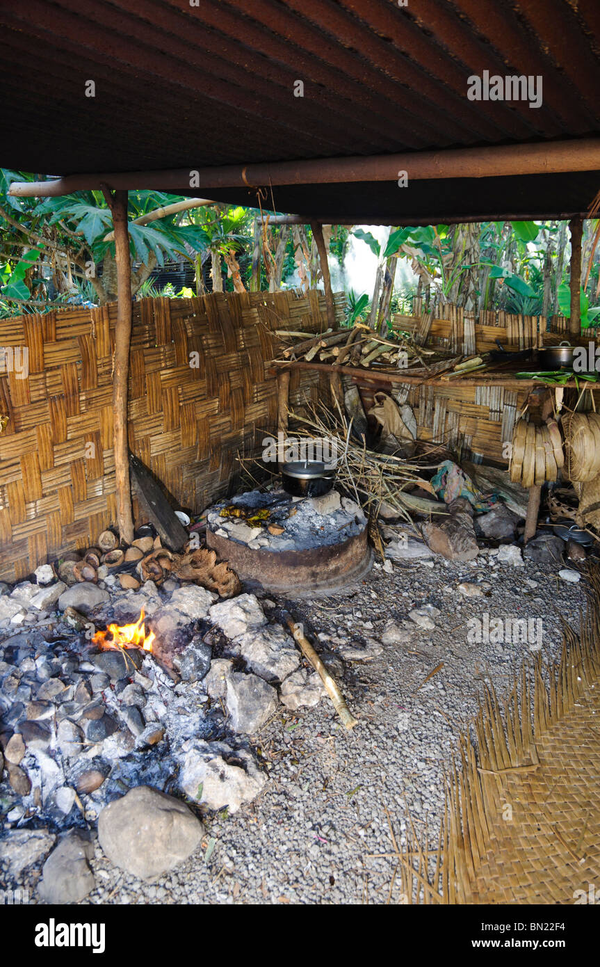 Heating stones for a ground oven; traditional food preparation in the south Pacific. - Stock Image