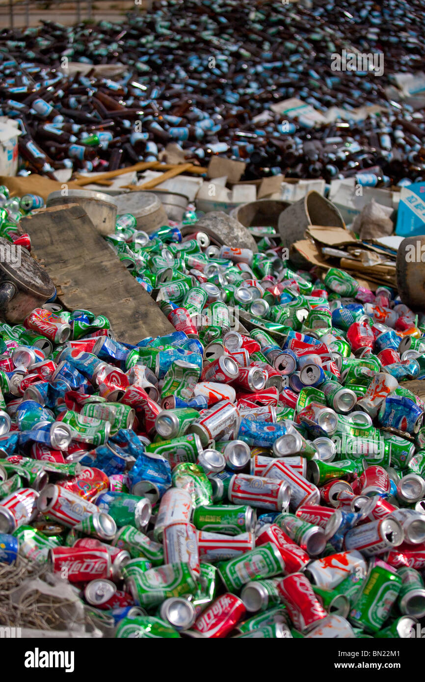 Aluminum cans and glass bottles gathered for recycling in Gyantse, Tibet - Stock Image