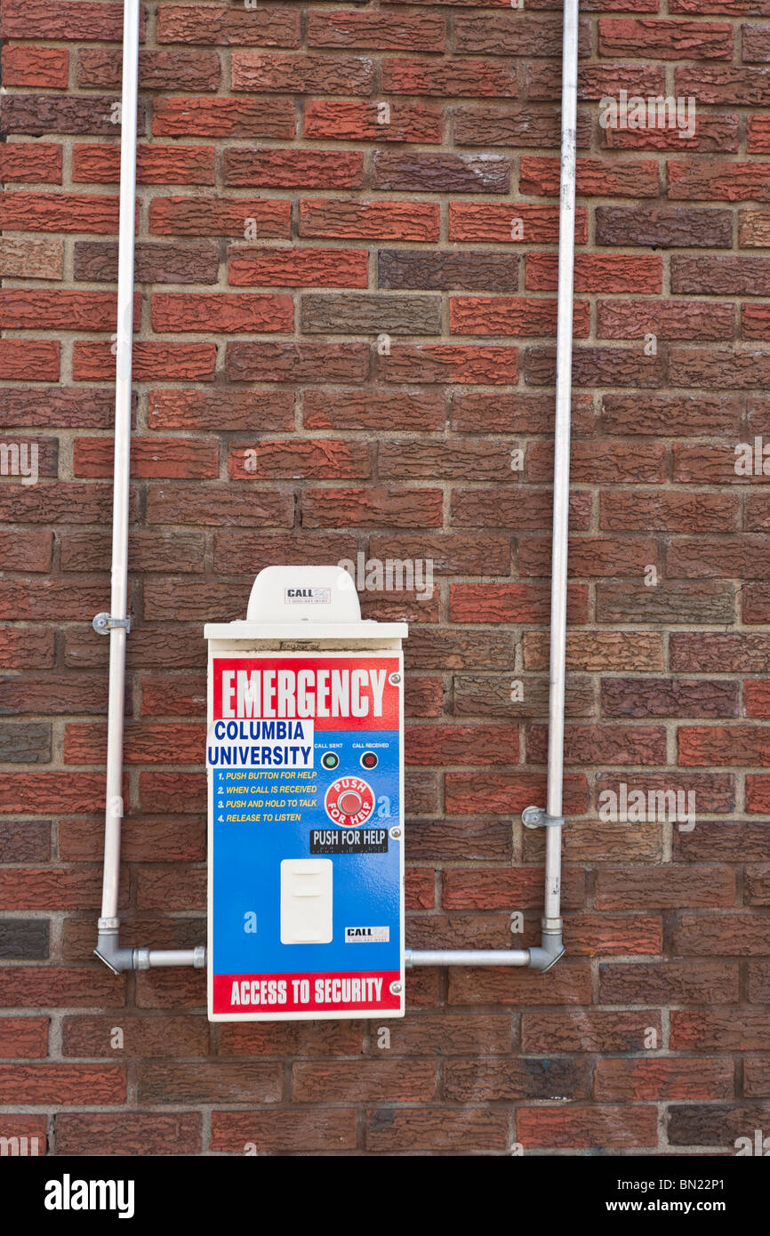 View of a Columbia University emergency call box in Manhattanville, West Harlem, New York. - Stock Image