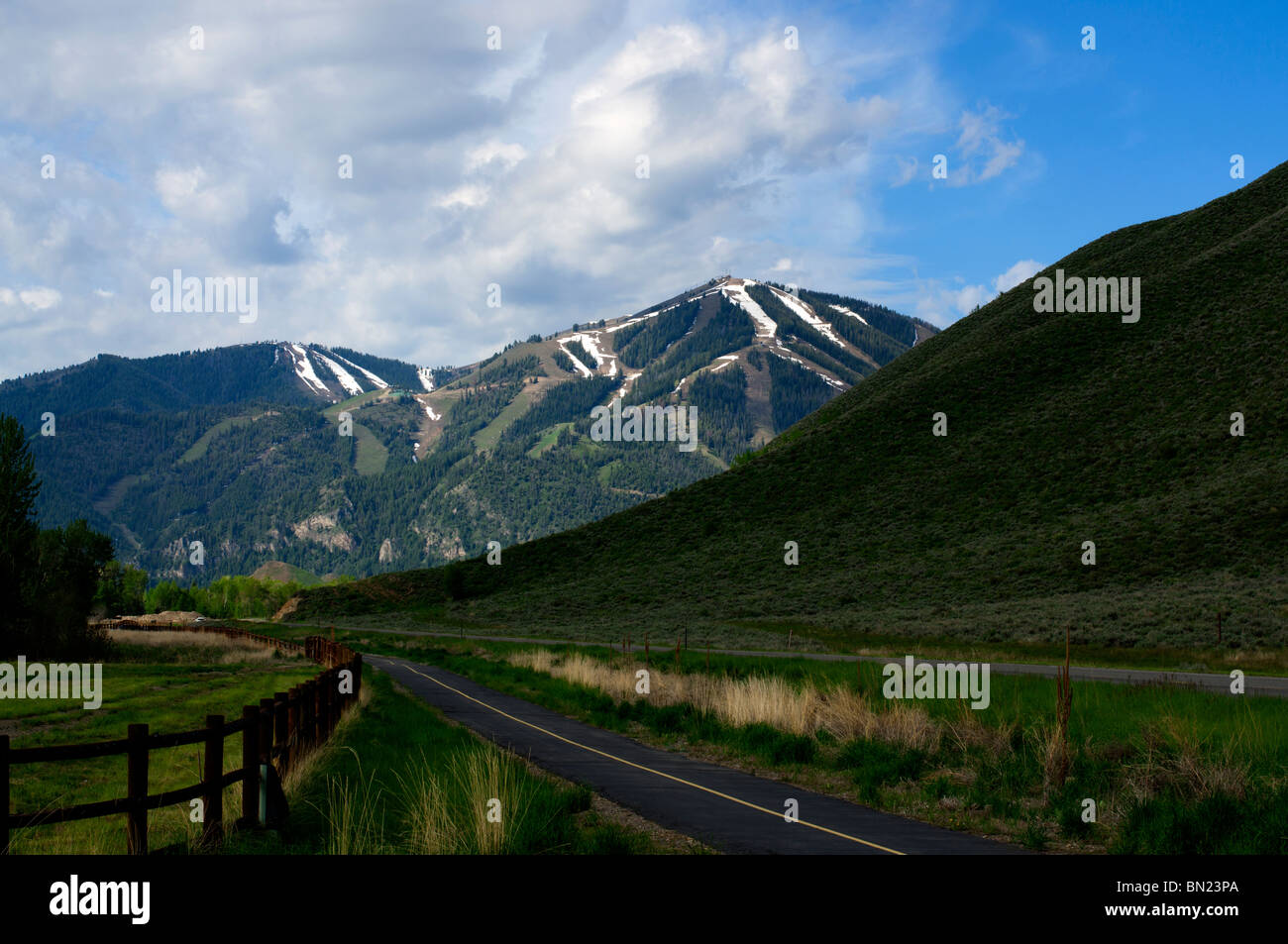 The Sun Valley ski slopes seen from the walking trail outside of town - Stock Image