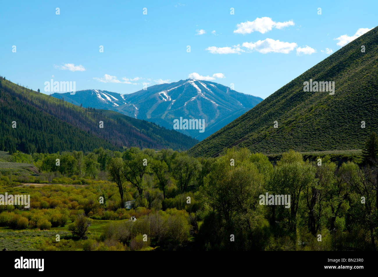 The Sun Valley ski runs seen from a distance east of town on Trail Creek Rd - Stock Image
