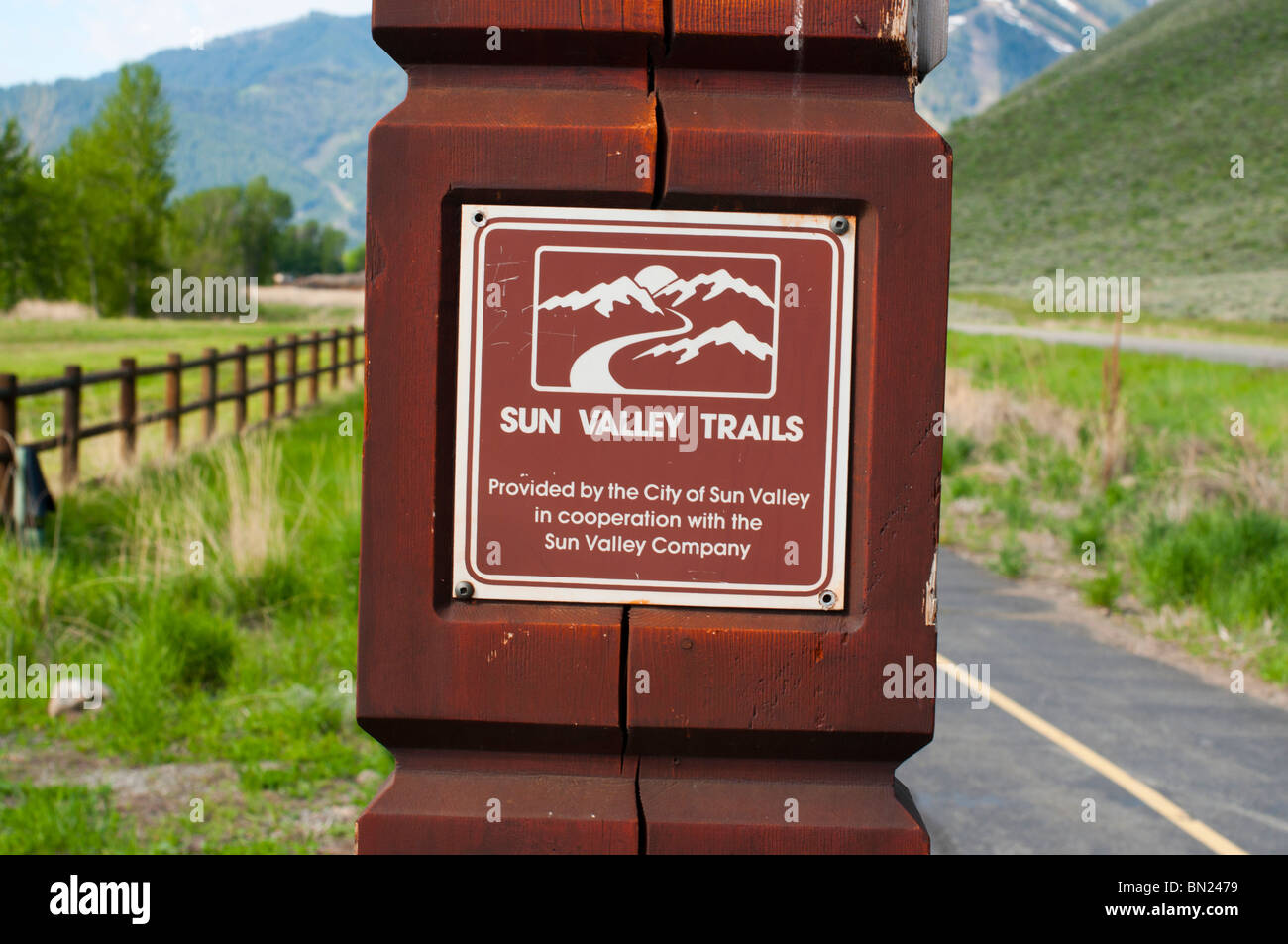Sign on walking trail outside Sun Valley - Stock Image