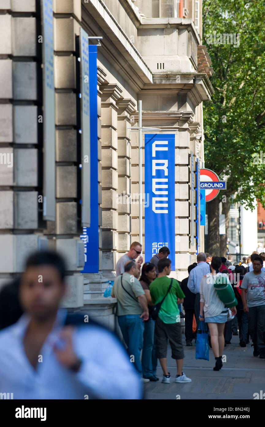 Sign showing free entry to the Science Museum in South Kensington, London UK 2010 - Stock Image