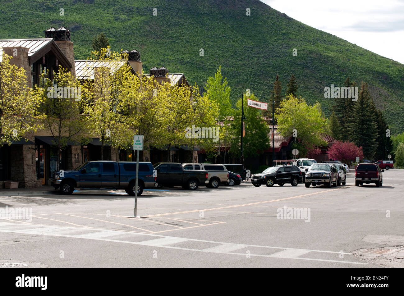 One of the newer shopping sections of Ketchum - Stock Image
