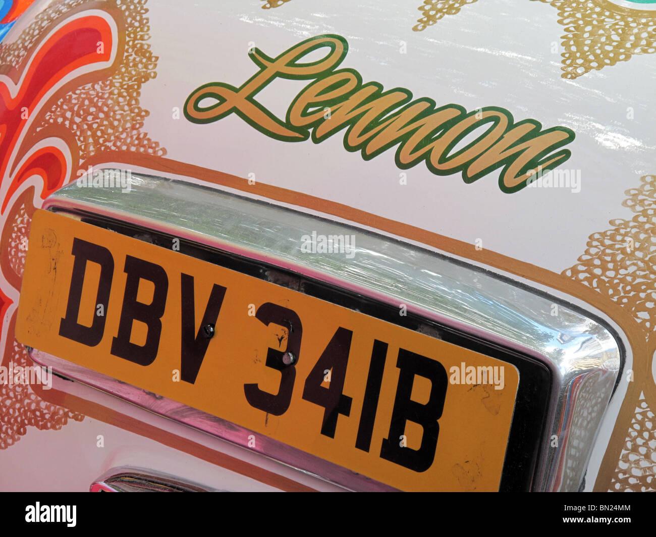 John Lennon Beatles Rolls Royce Psychedelic 1967 60s Hippy Trip - Stock Image