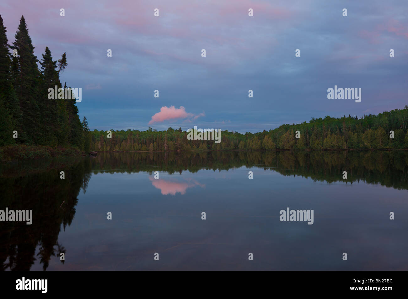 EVENING COLORS ON WHALE LAKE BOUNDARY WATERS CANOE AREA - Stock Image