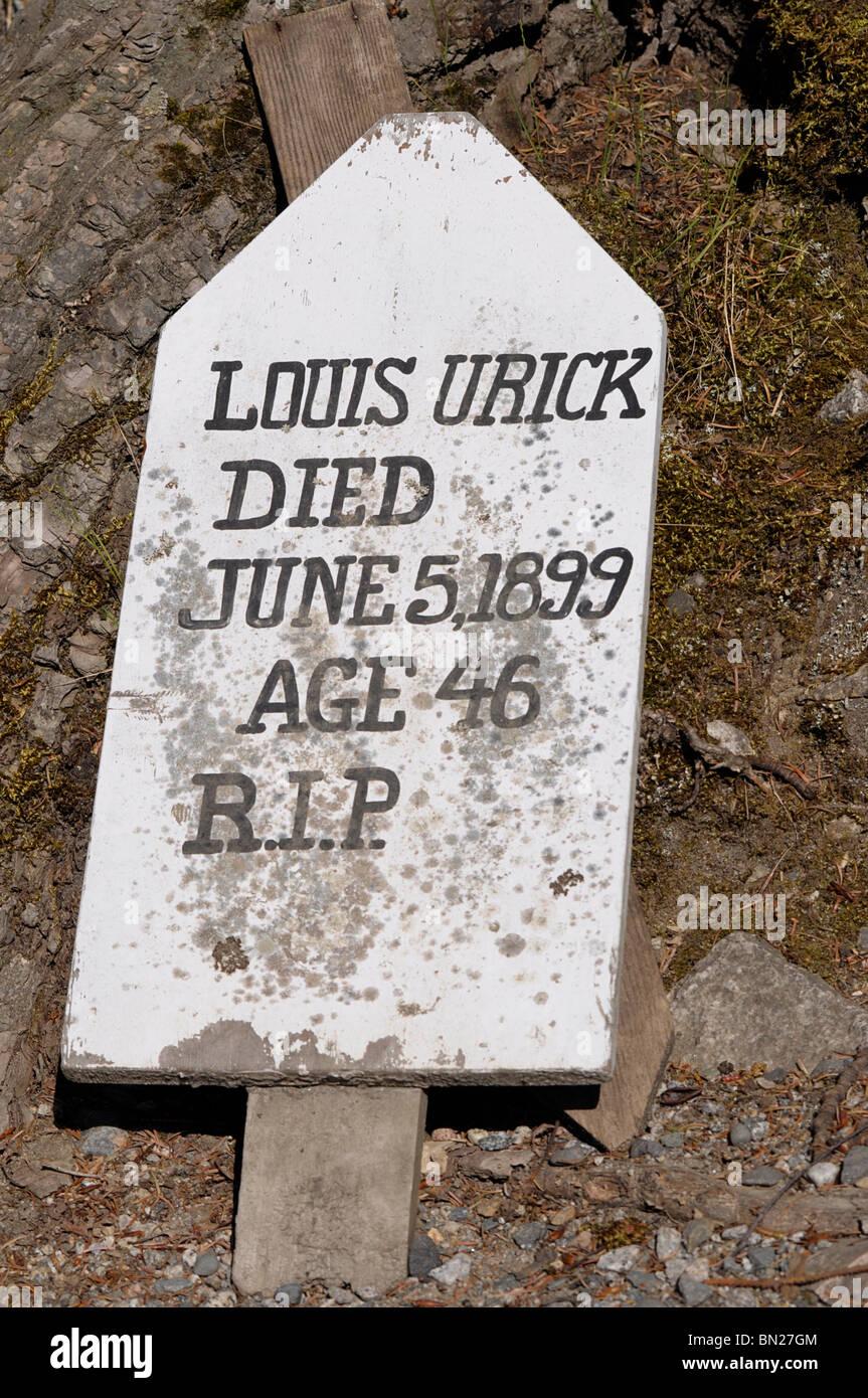 Grave Marker, Gold Rush Cemetery, Skagway, Alaska. - Stock Image
