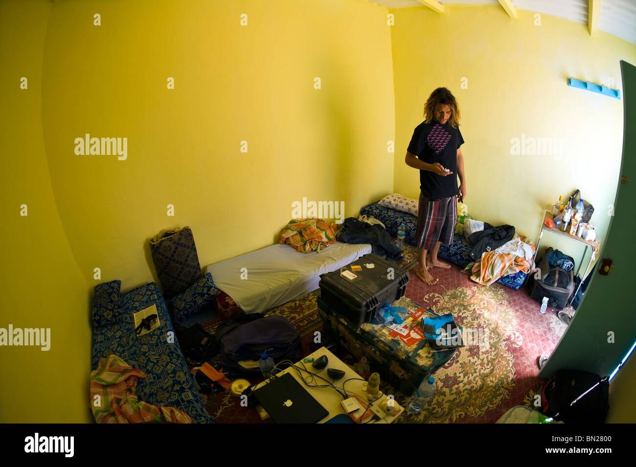 Mauritania, Nouadhibou, hotel room. - Stock Image