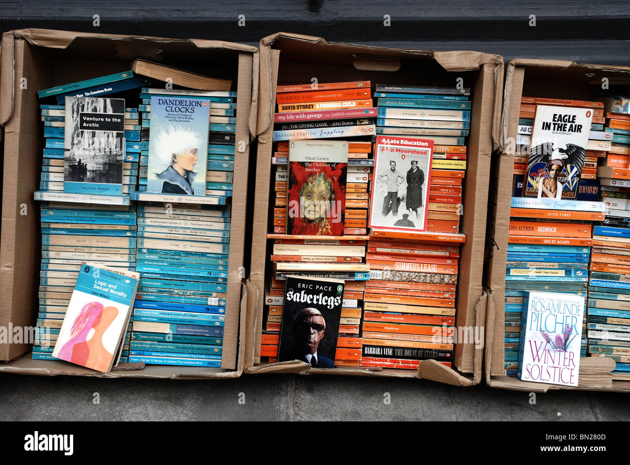 Penguin and Pelican paperbacks outside a secondhand bookshop in Edinburgh. Stock Photo