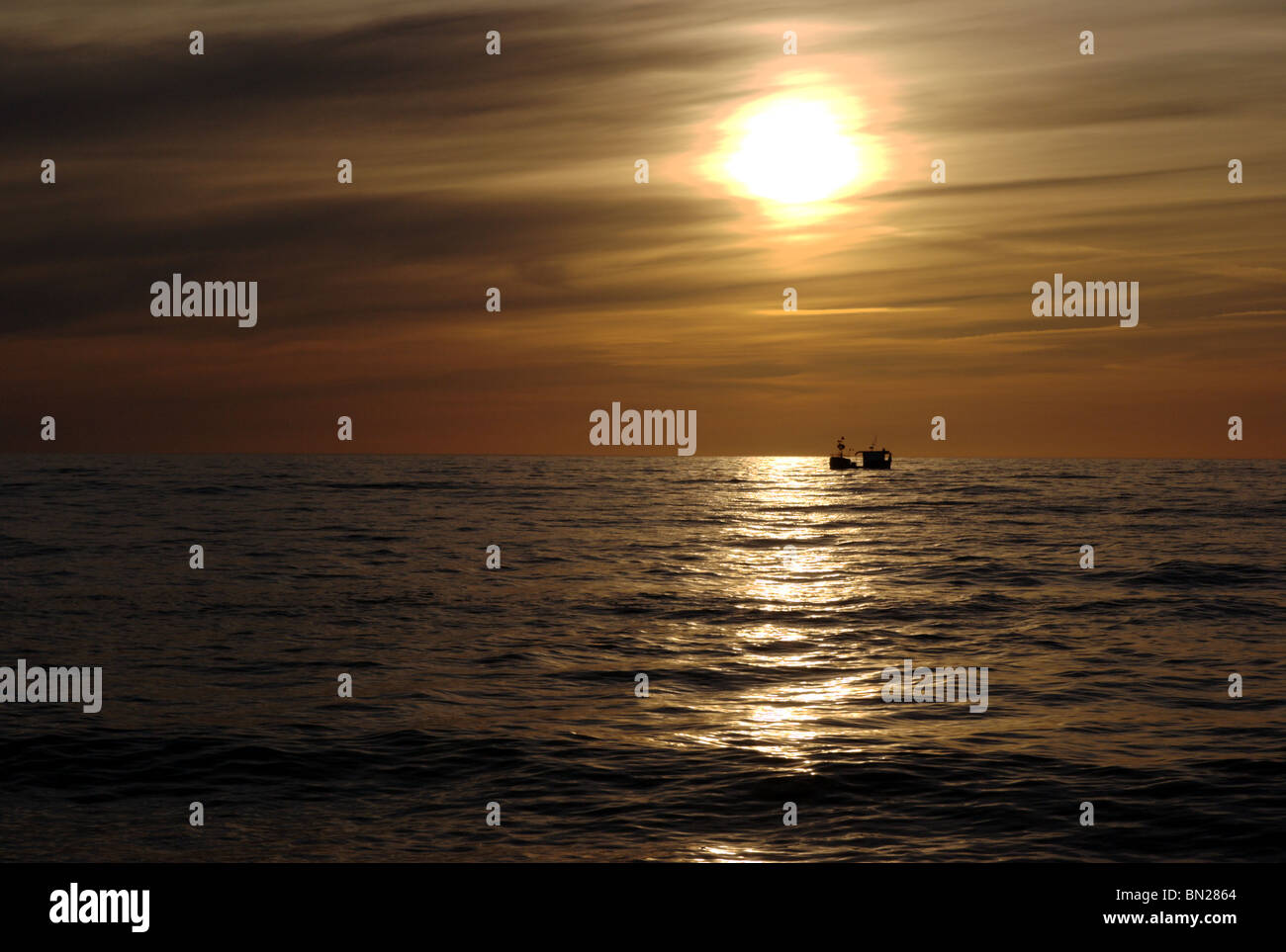 Sun dawn over Baltic sea - Stock Image