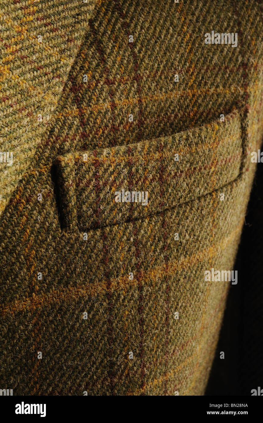 Detail of Gents Traditional green Tweed Jacket - Stock Image