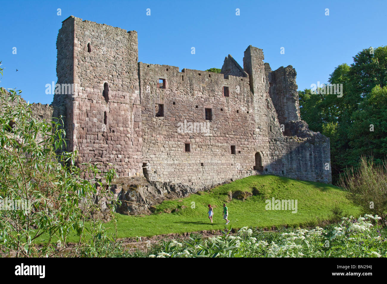 Hailes Castle near Haddington, Scotland , as taken from the north side of the River Tyne. - Stock Image