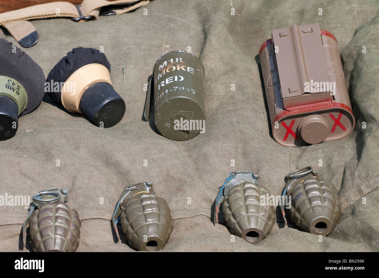 Hand grenades and other weapons dating from world war 2 - Stock Image