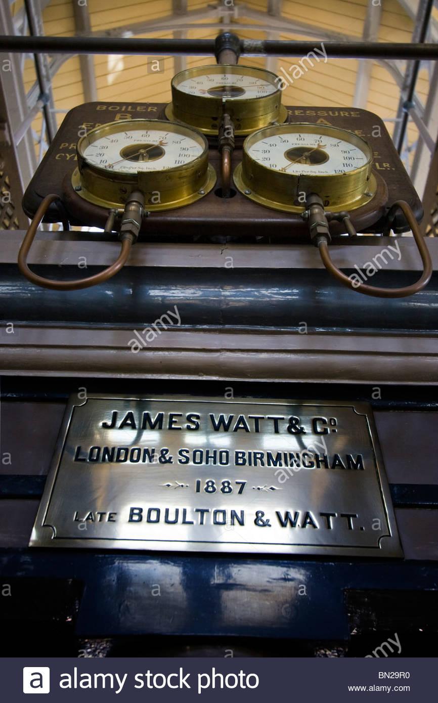Beam Engine James Watt Scottish inventor and mechanical engineer Brass Plate Boiler Pressure Gauges - Stock Image