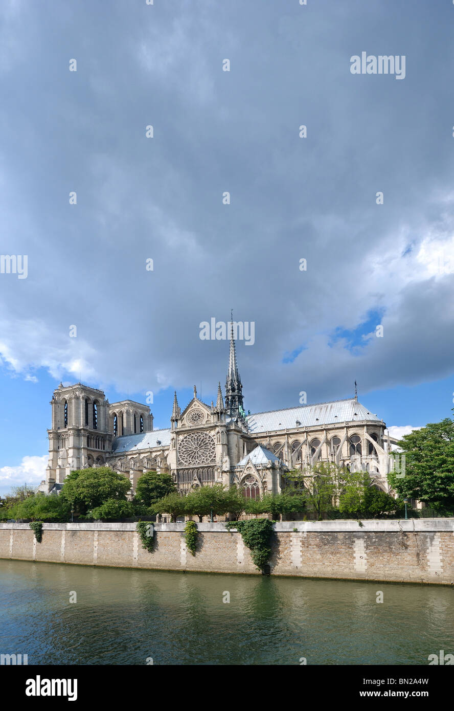 Notre Dame Cathedral view from Seine river - Stock Image