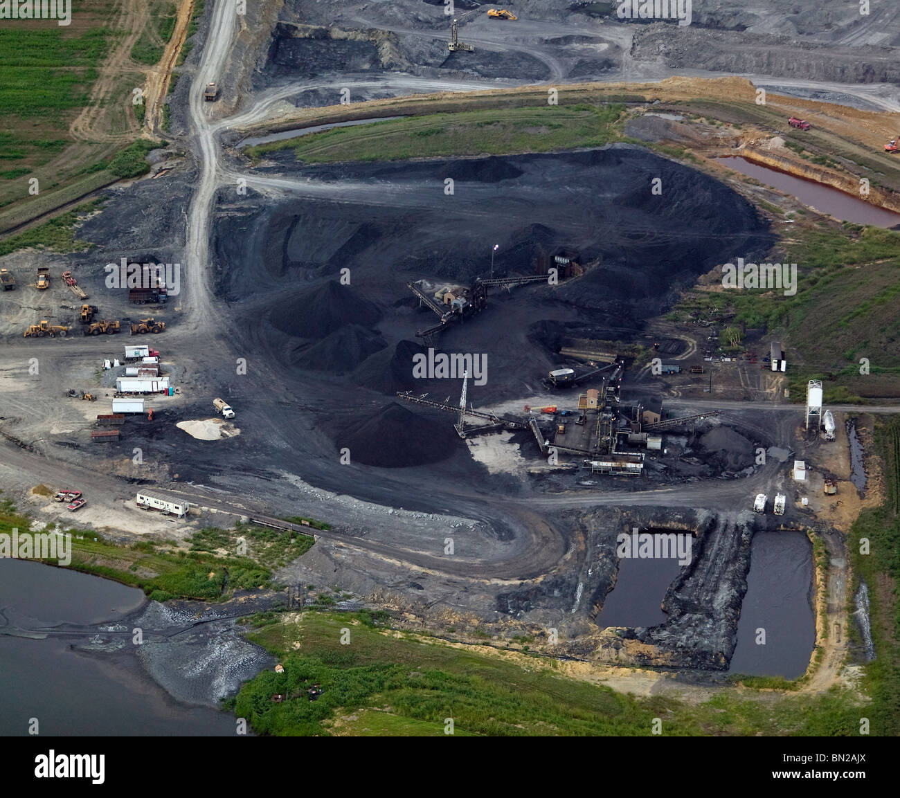 aerial view above coal strip mine Missouri - Stock Image