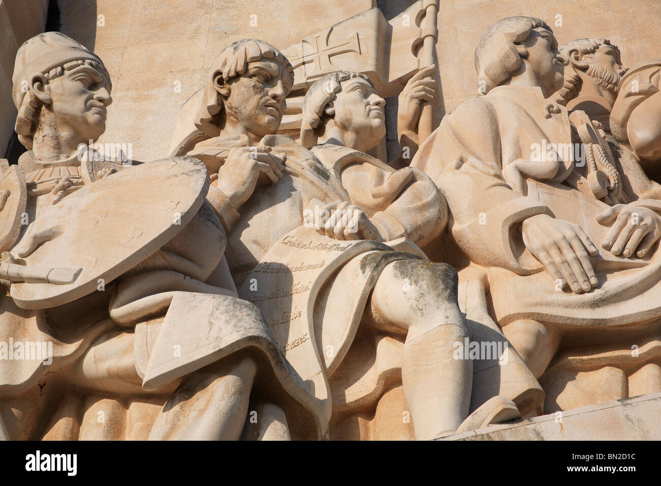 Detail from the Monument to the Discoveries, Lisbon, Portugal - Stock Image