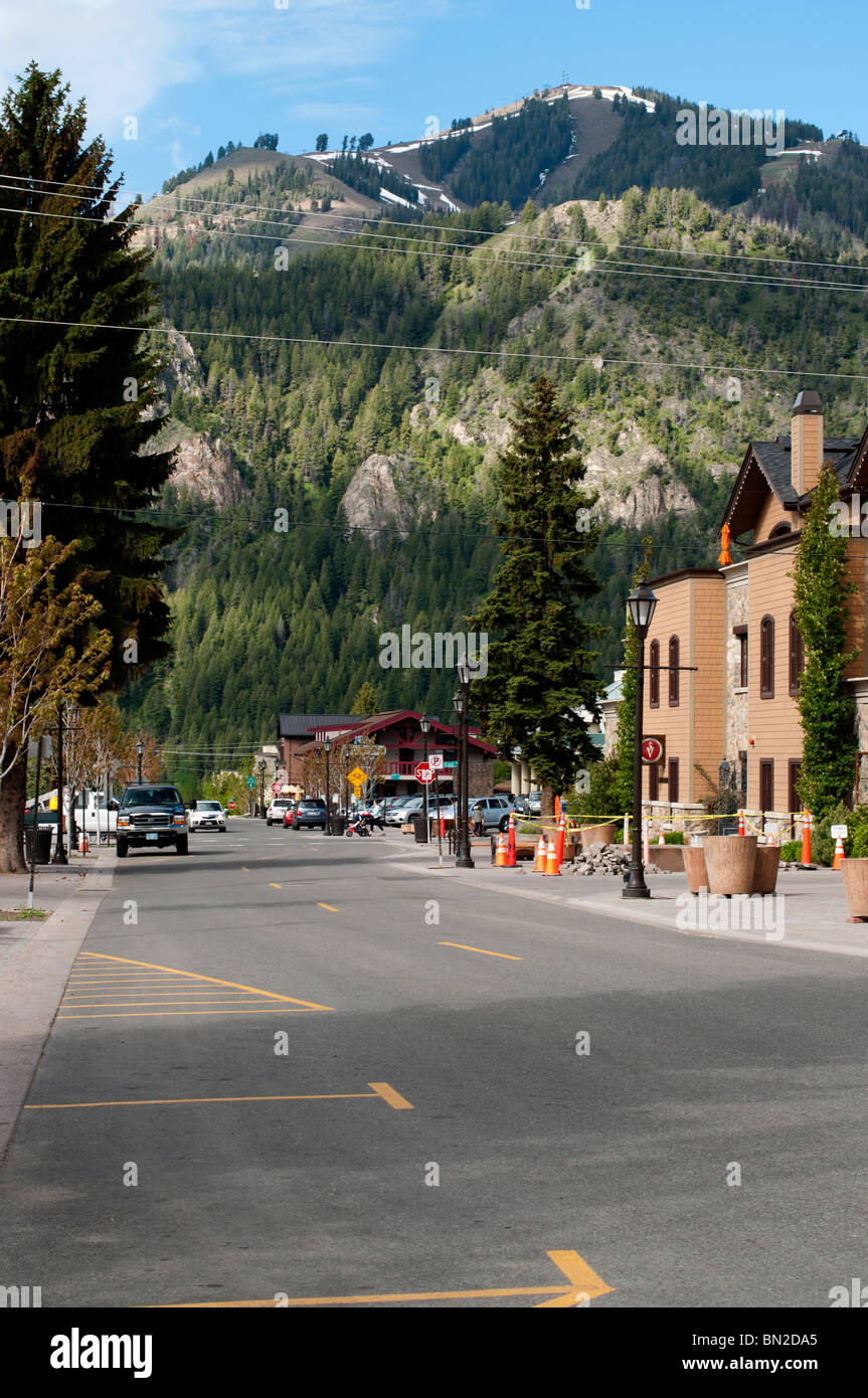 Looking down a side street in Ketchum - Stock Image