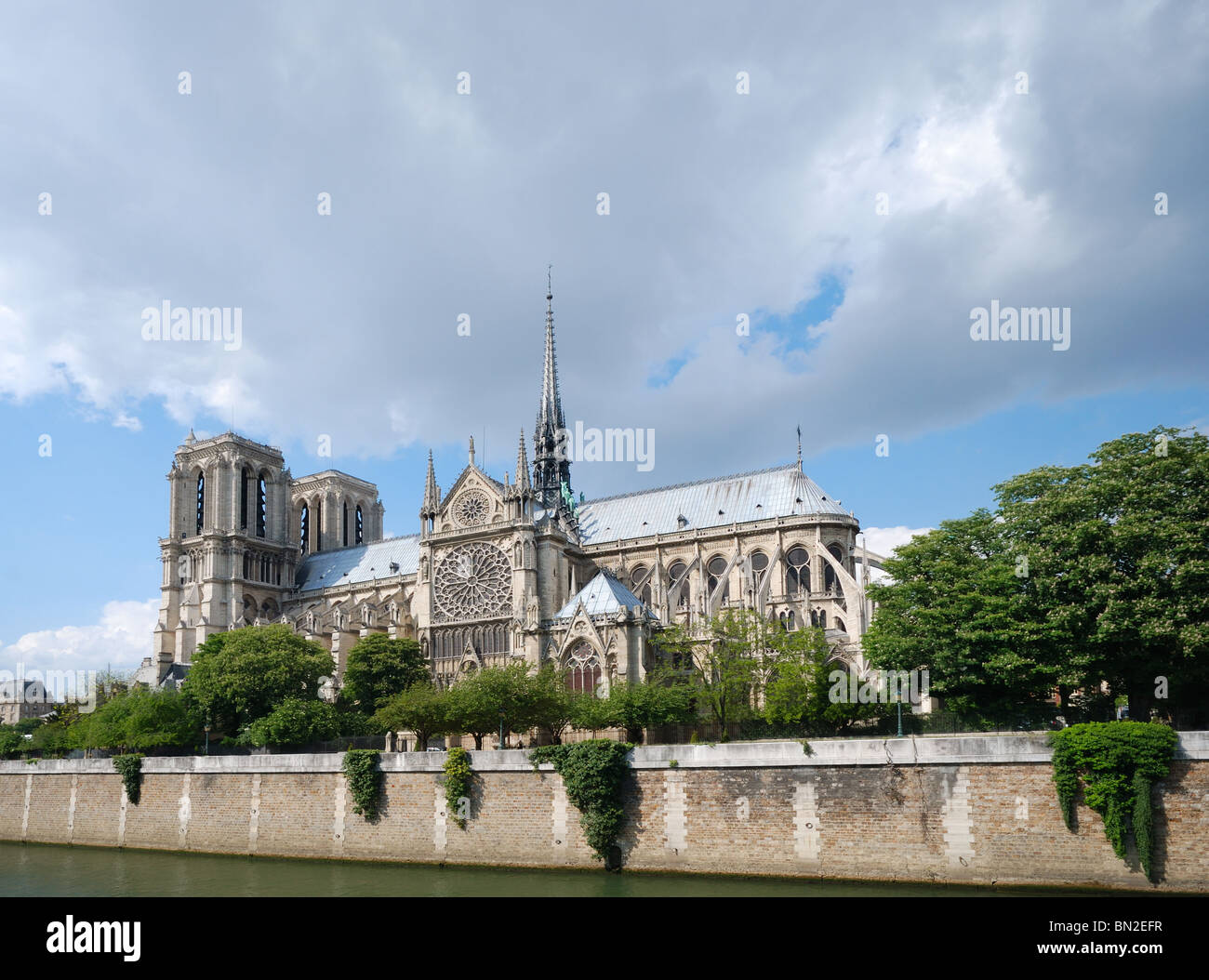 Notre Dame Cathedral view from Seine - Stock Image
