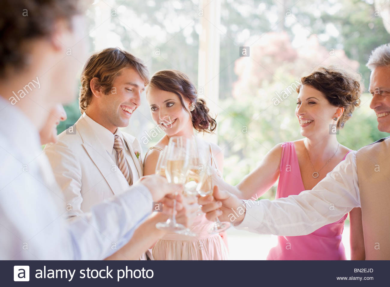 Guests toasting with champagne at wedding reception - Stock Image