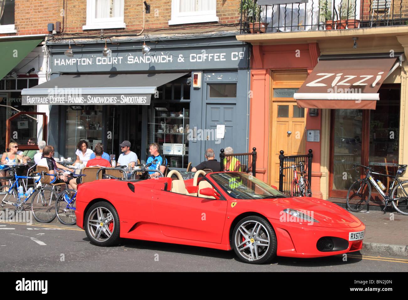 Ferrari F430 Spider in Bridge Road, Hampton Court, East Molesey, Surrey, England, Great Britain, United Kingdom, - Stock Image