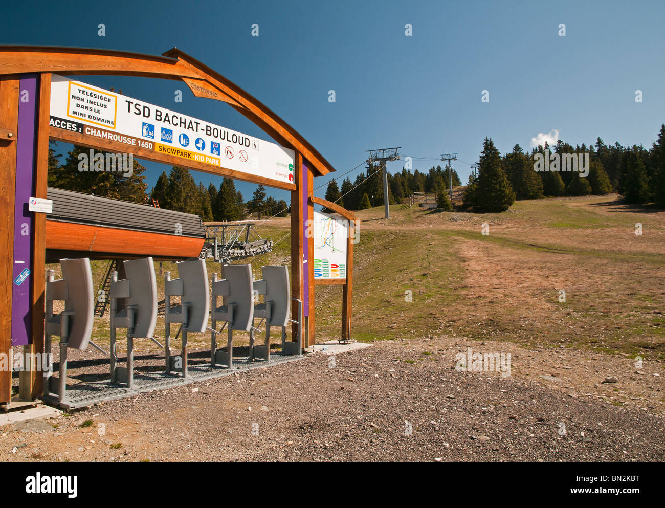 Ski resort in summer, booth tolls at boarding station of a chairlift, Chanrousse, France. - Stock Image