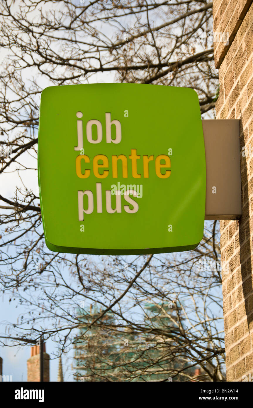 Job Centre Plus sign on outside of building Stock Photo