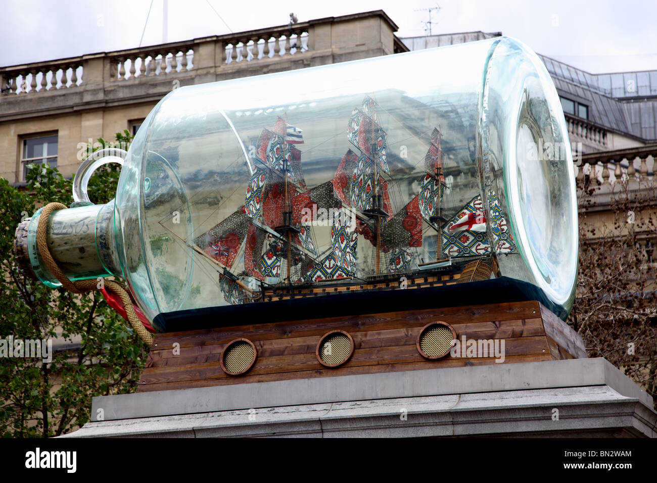 Artist Yinka Shonibare's art work, Nelson's Ship In A Bottle, on the fourth plinth in Trafalgar Square, Westminster, - Stock Image