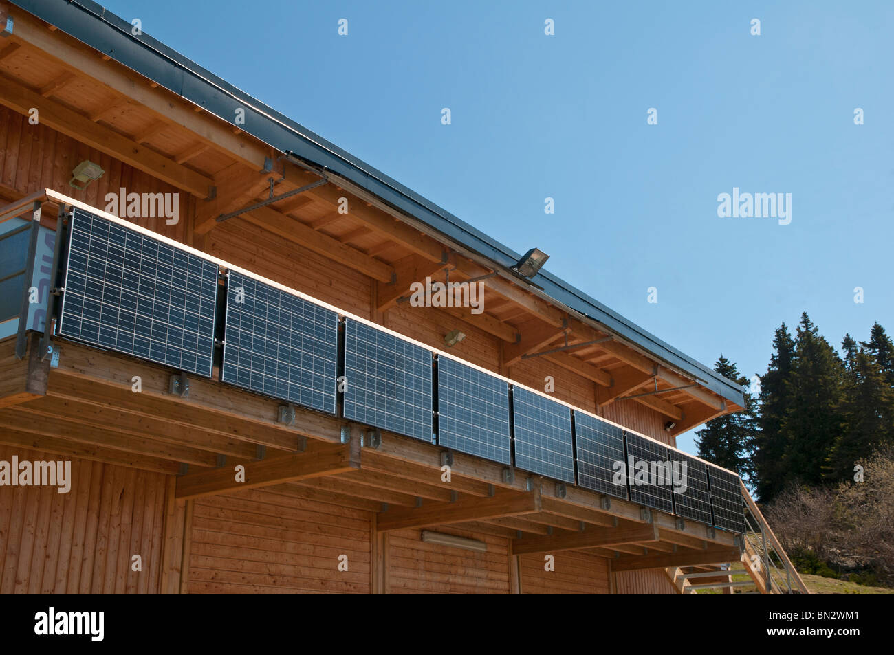 Solar panels on a house balcony - Stock Image