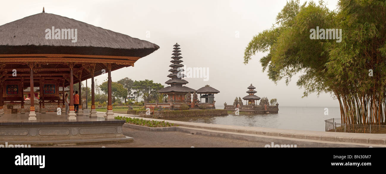 Pura Ulun Danu Bratan, or Pura Bratan, Candi Kuning, water temple, Bali, Indonesia, evening light Stock Photo