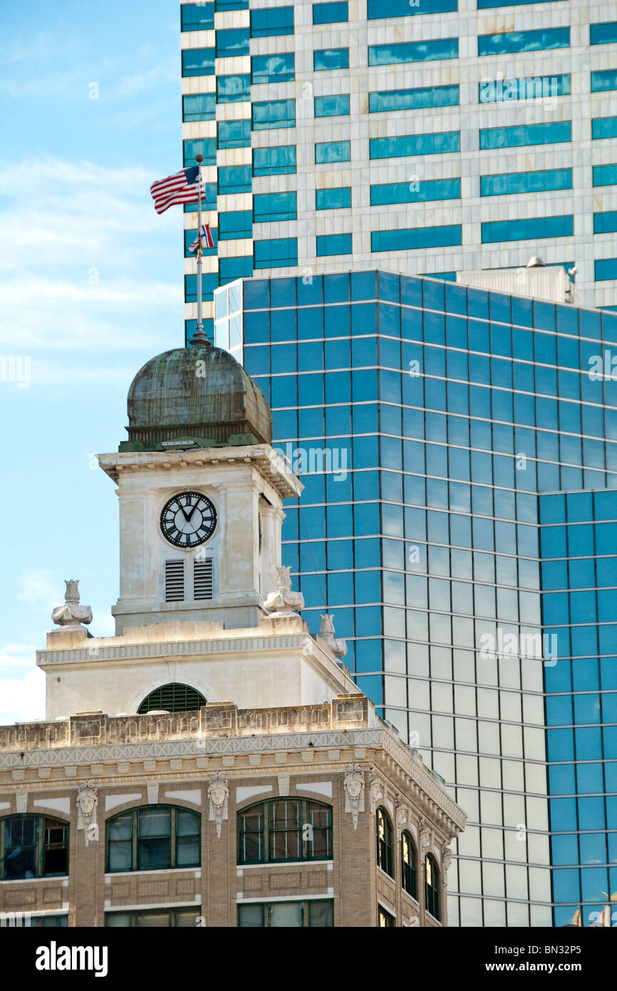 Old Tampa City Hall built in 1915 and high-rise office buildings in city center of Tampa, Florida, USA - Stock Image