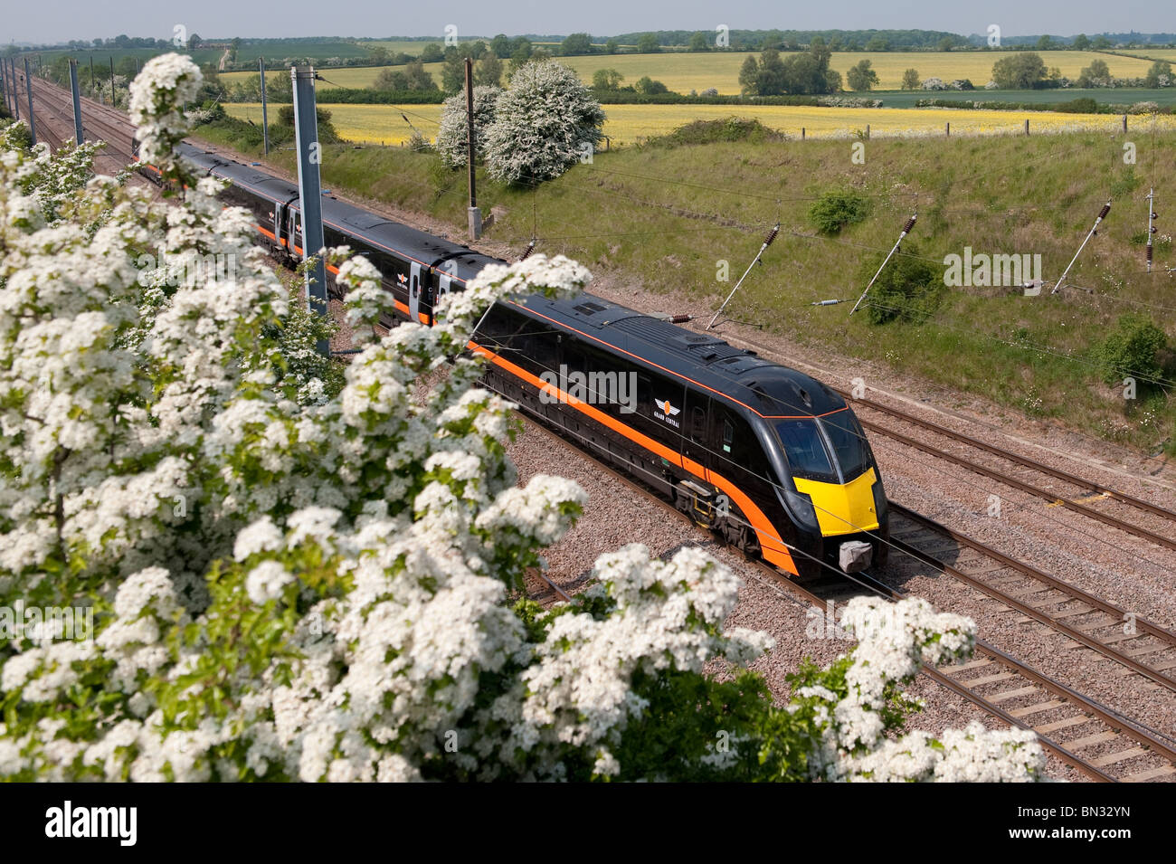 Grand Central railway's passenger train class 180 travelling at speed through the english countryside. - Stock Image
